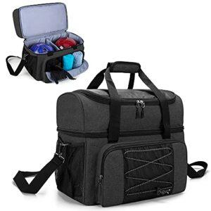 DSLAF Sac de bowling pour 2 boules, fourre-tout de bowling avec support de bowling en bois et une paire de chaussures de bowling jusqu'à 57 et extra Essentials, sac uniquement