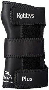 Robby's Gant de Poignet pour Bowling en Cuir Poignet Droit Noir Noir Moyen