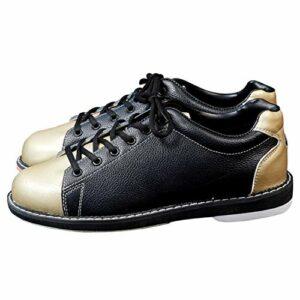 FJJLOVE Hommes Femmes Bowling Chaussures, Bowling Léger Entraîneurs À Lacets Antidérapants Bols en Cuir Chaussures Sneaker À Pied Sportif,d'or,41