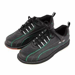 FJJLOVE Chaussure De Bowling, Chaussures De Marche Respirables Légères Bols en Cuir Antidérapants Sneakers pour Femmes Hommes,Noir,45